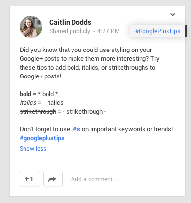 Google+ Markdown Styling