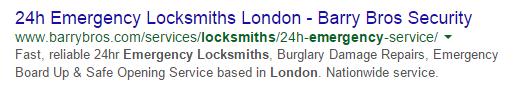 Emergency Locksmith London Meta Description