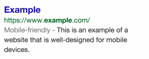 Google Mobile Friendly Snippet