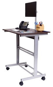 Mobile Adjustable-Height Stand Up Desk with Monitor Mount