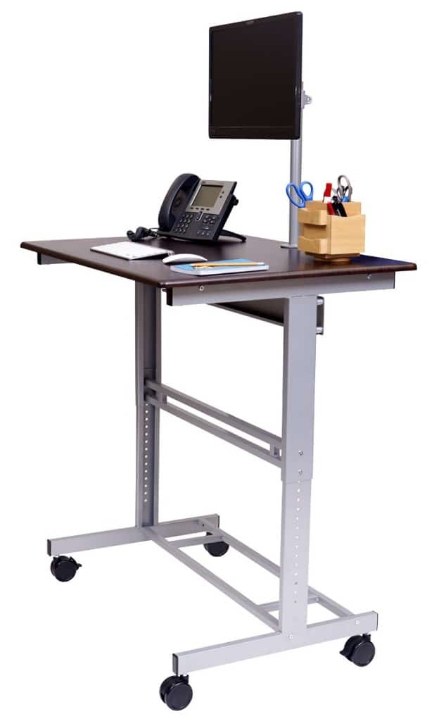 Mobile Adjule Height Stand Up Desk With Monitor Mount