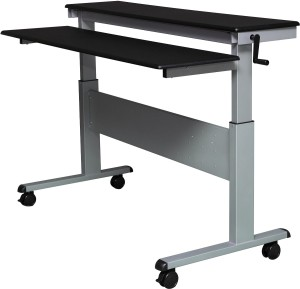 Crank Adjustable Height Sit to Stand Up Desk with Heavy Duty Steel Frame