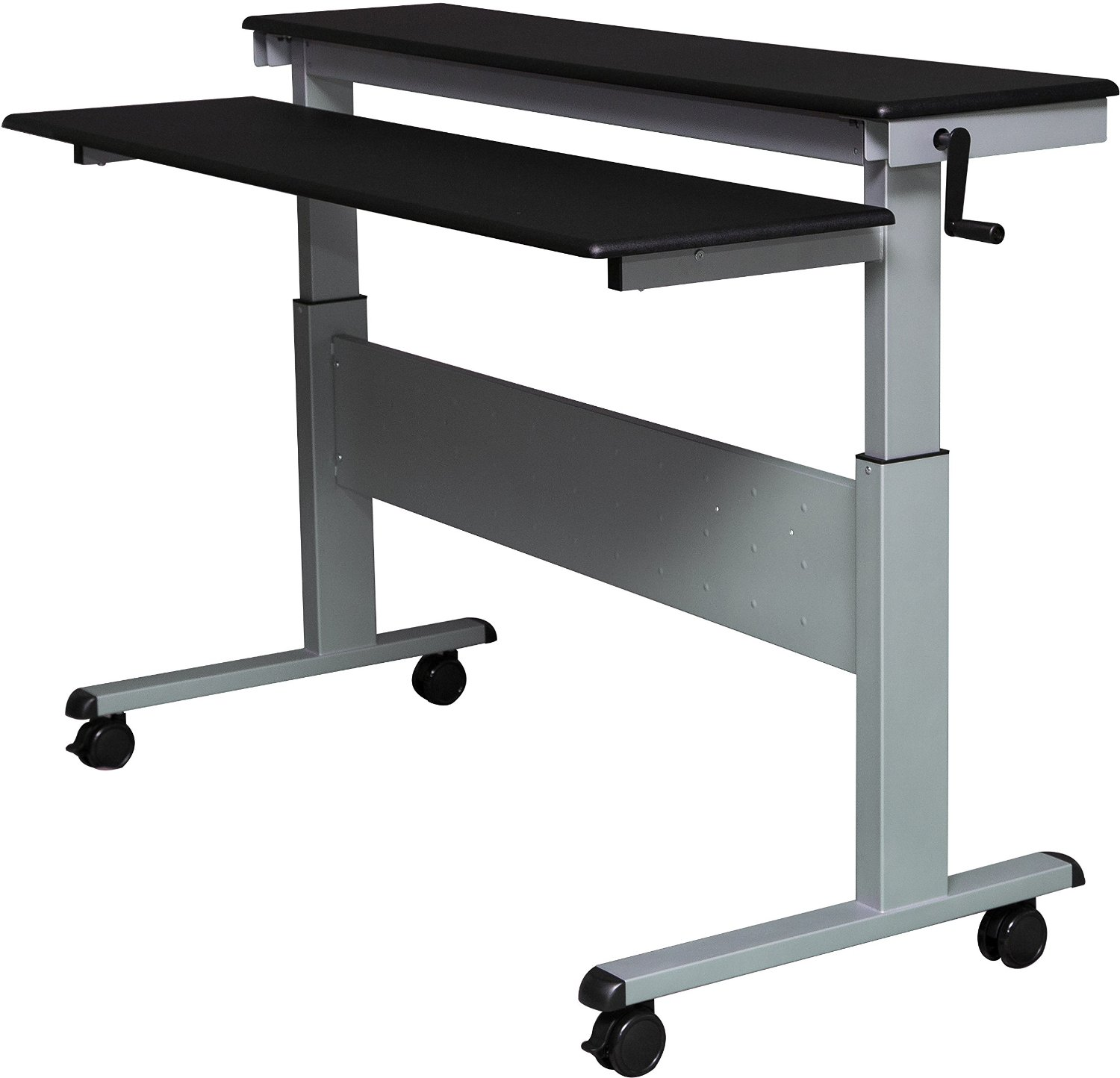 Crank Adjule Height Sit To Stand Up Desk With Heavy Duty Steel Frame