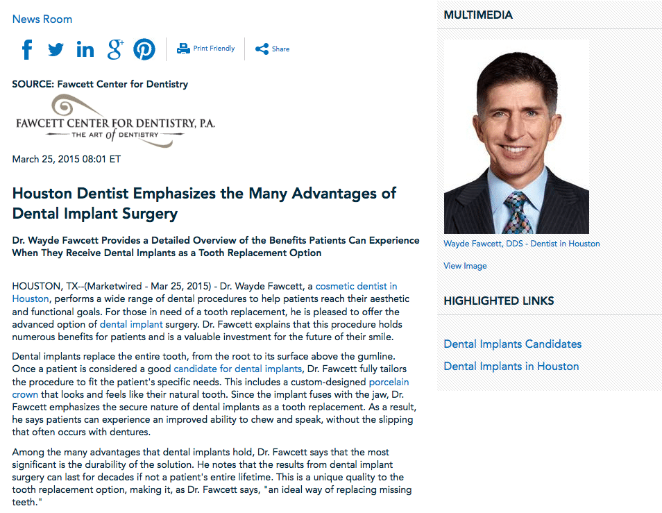 Houston Dentist Press Release