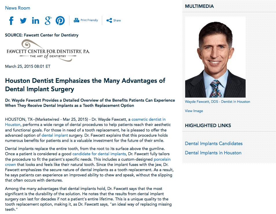Houston Dentist Press Release