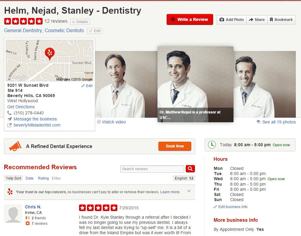 Beverly Hills Cosmetic Dentist Yelp Reviews