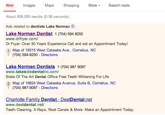 Dental PPC Ads Example