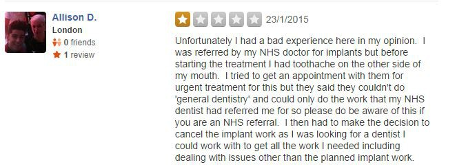 Yelp Bad Reviews for Dentist