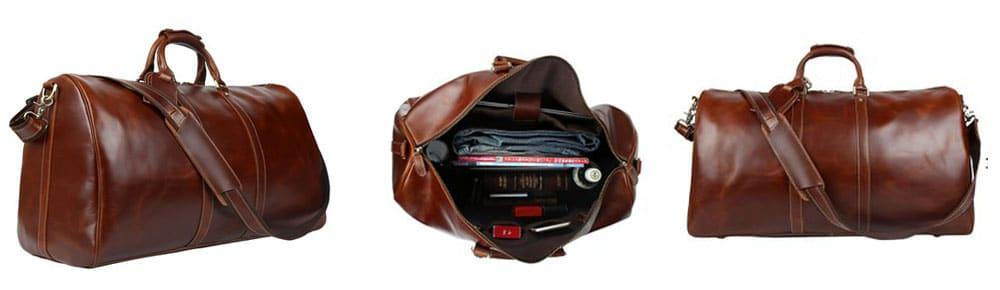 BAIGIO Leather Duffel Bag