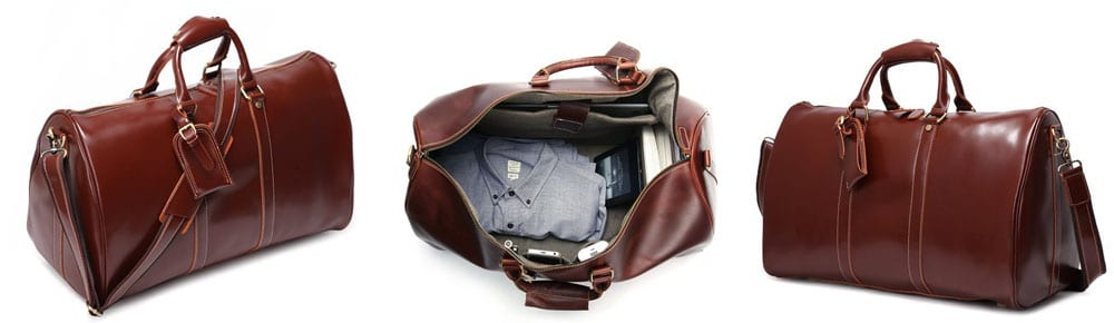 d9e3166811ed Best Duffle Bag Under  150. 8. Leathario Mens Genuine Leather Overnight  Duffel