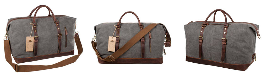 S Zone Oversized Canvas Duffel With Leather Trim
