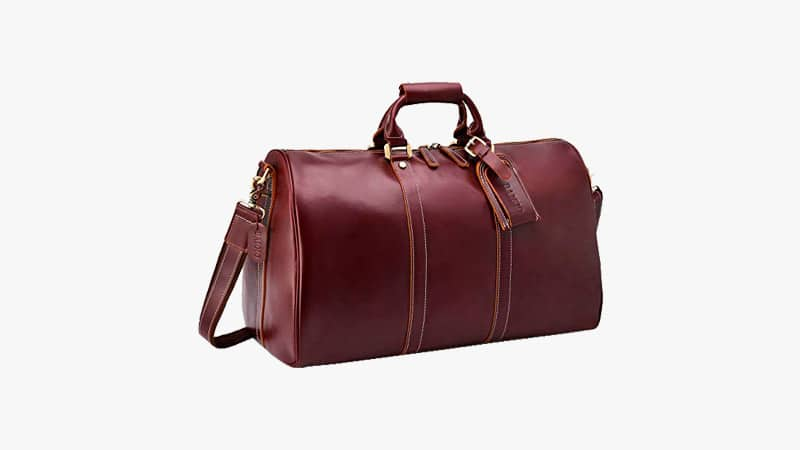 BAIGIO Men's Genuine Leather Travel Weekend Bag