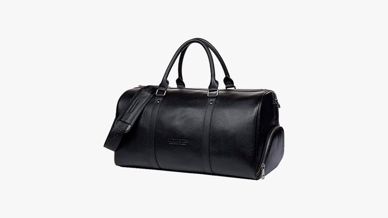 BOSTANTEN Genuine Leather Travel Weekender Overnight Duffel Bag