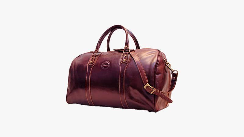 Cenzo Duffel Vecchio Brown Italian Leather Weekender