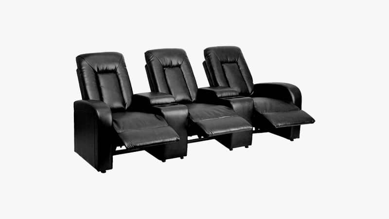 Flash furniture eclipse series 3 seat reclining black leather theater seating
