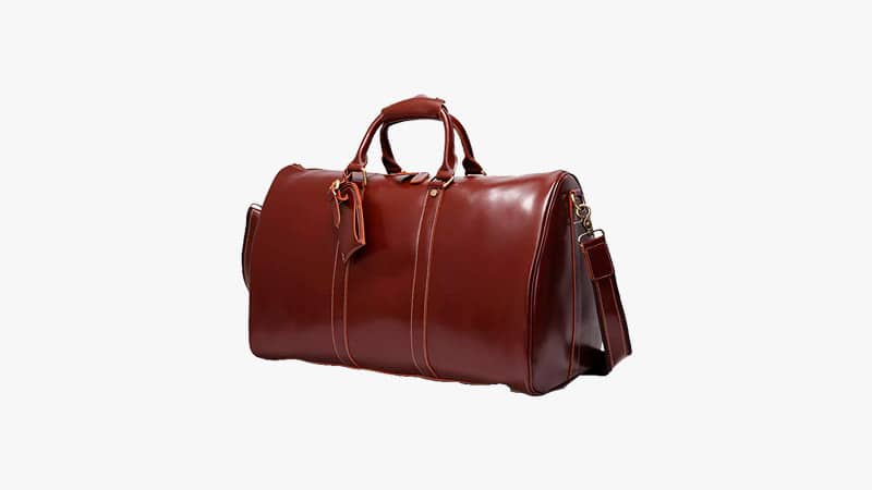Leathario Mens Genuine Leather Overnight Duffel