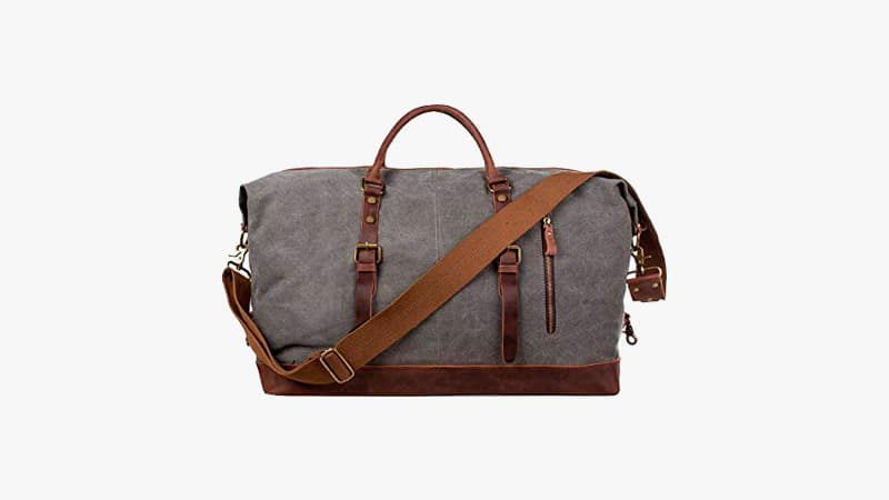 S-Zone Oversized Canvas Duffel with Leather Trim