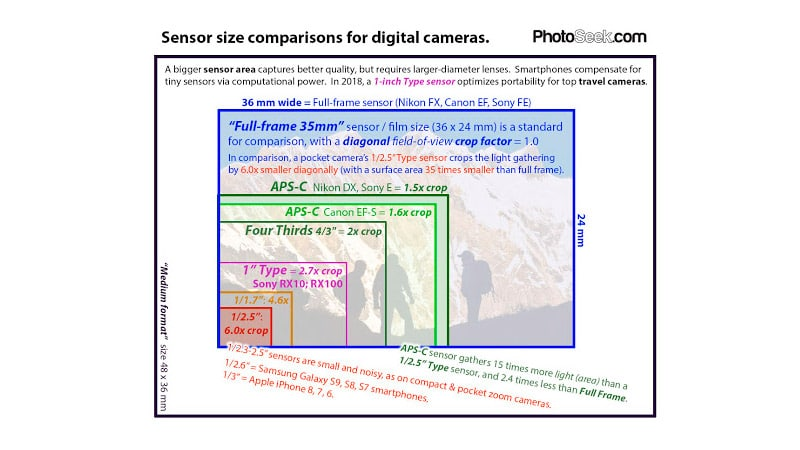 Senser size comparisons for digital cameras