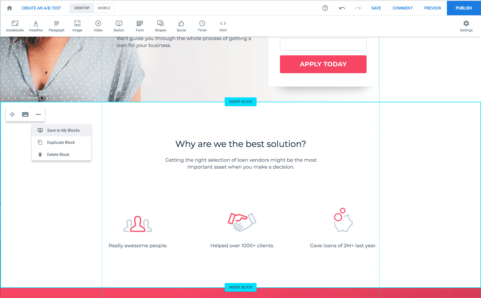 A-B Tests for landing pages