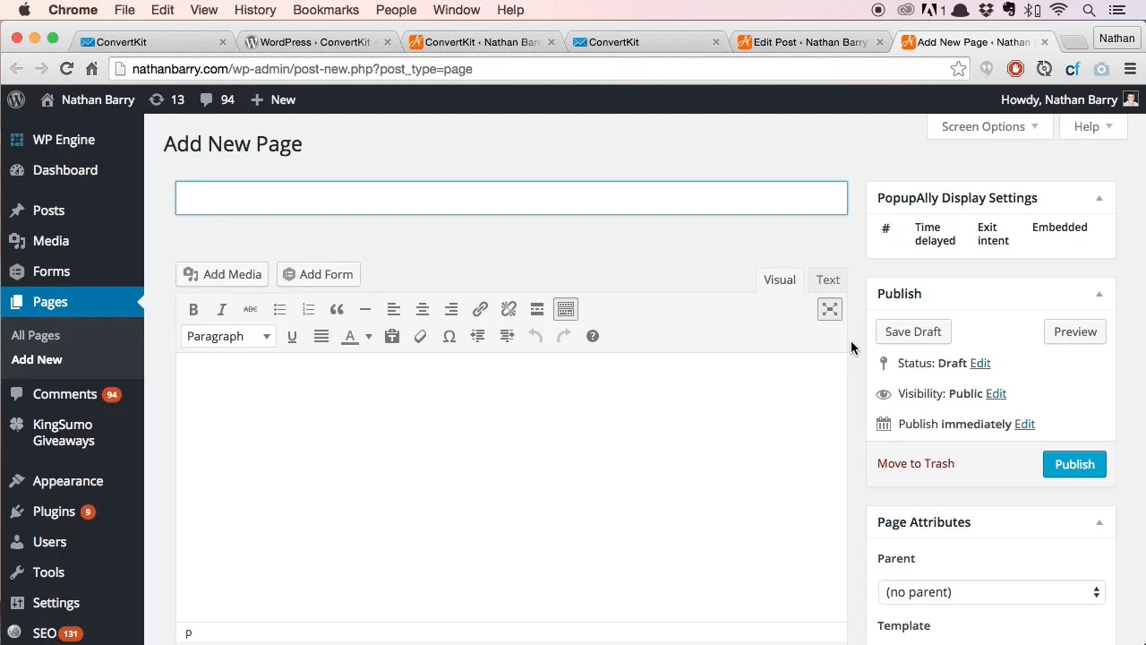 Add a New Page on WordPress