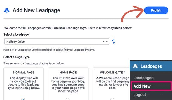 Add new LeadPage