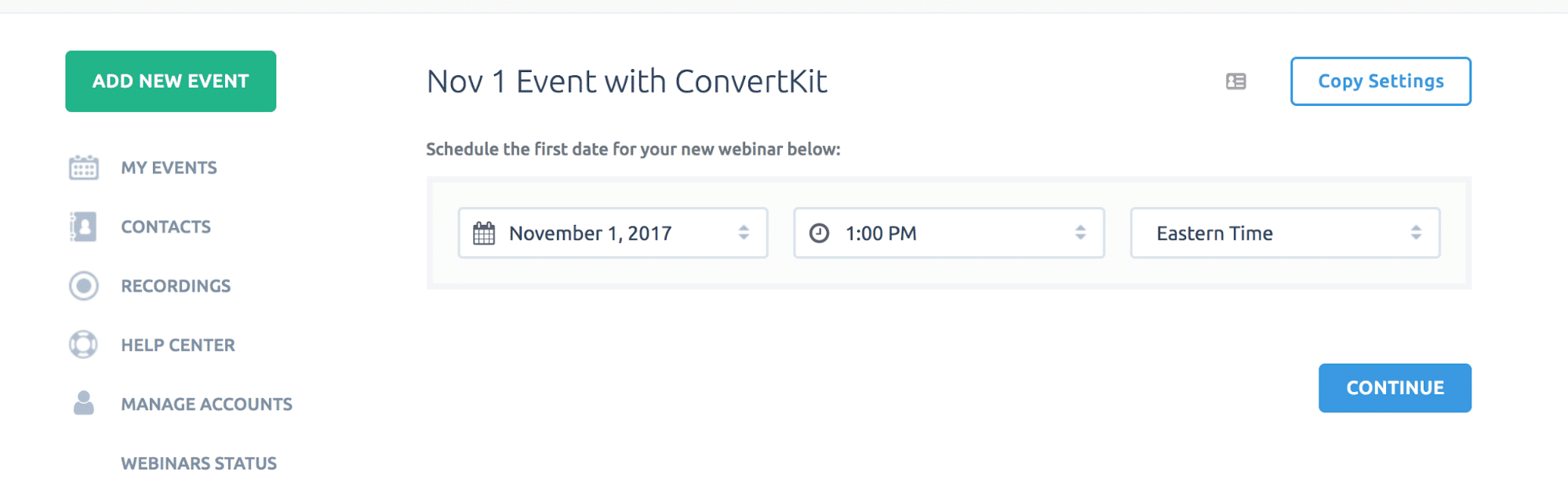 Adding an event on ConvertKit