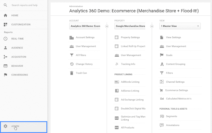 Admin Panel on Google Analytics