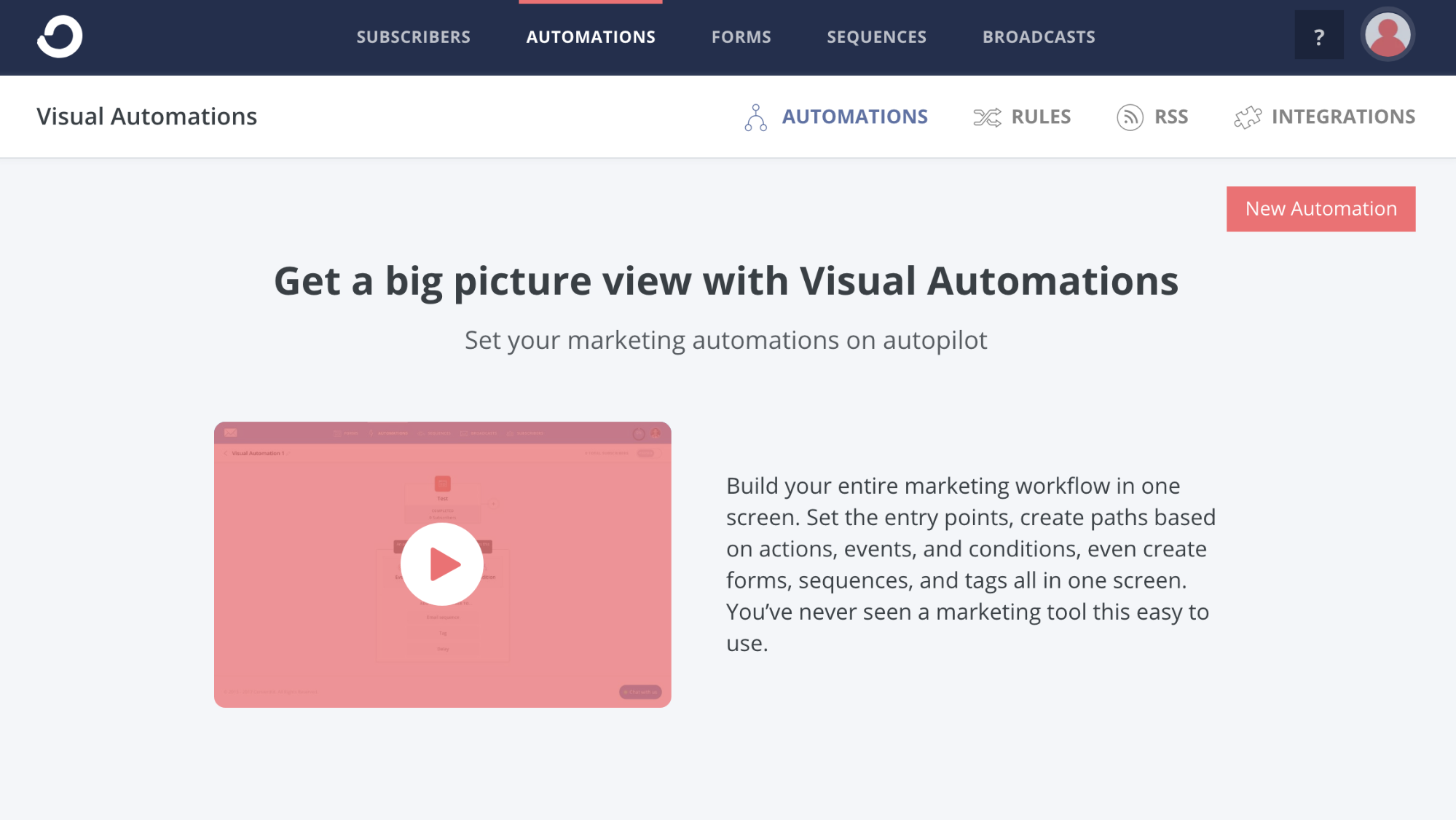 Automations Tab on ConvertKit