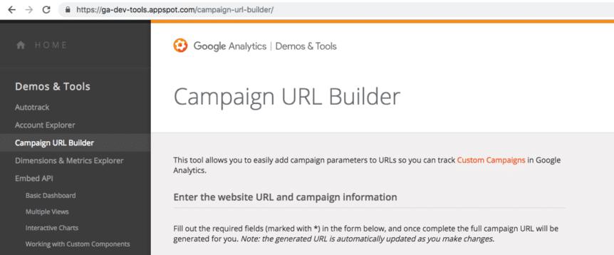 Campaign URL Builder Page