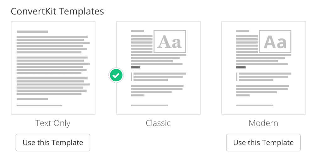 ConvertKit Templates by default