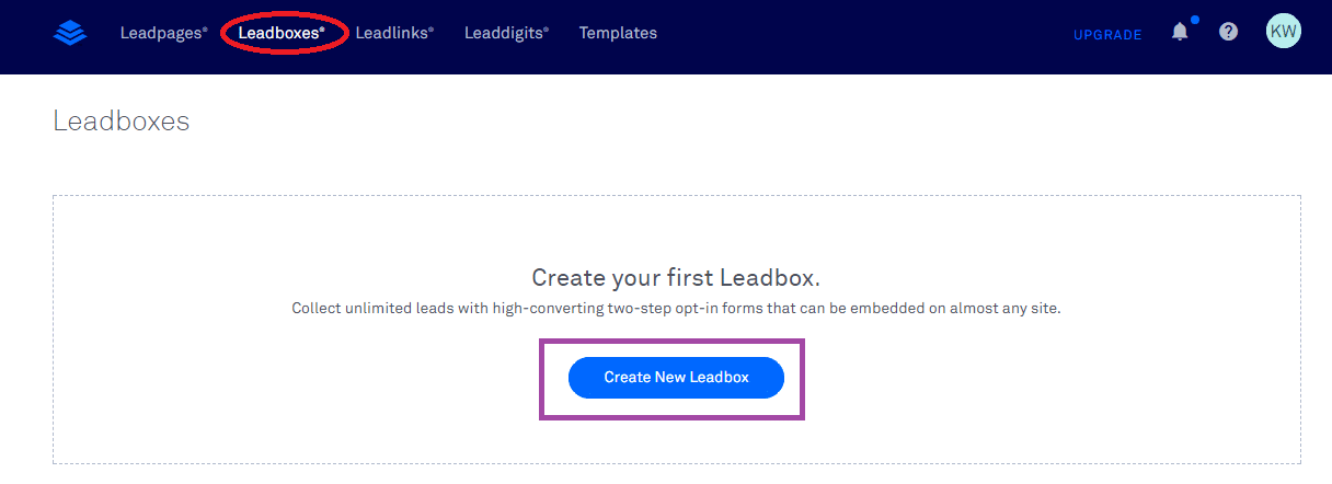 Create New Leadlink Button