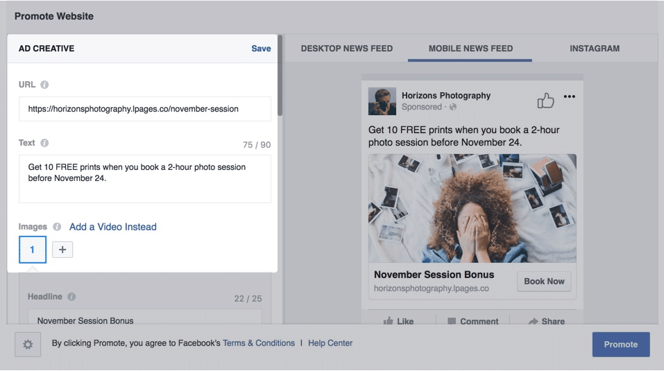 Facebook Ad Editor