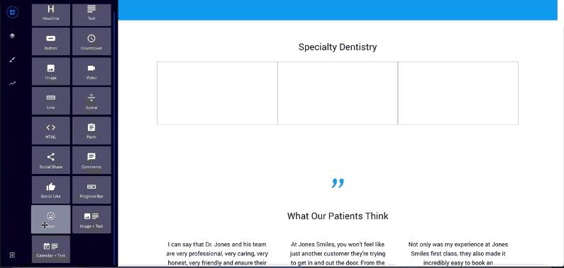 Landing page editor