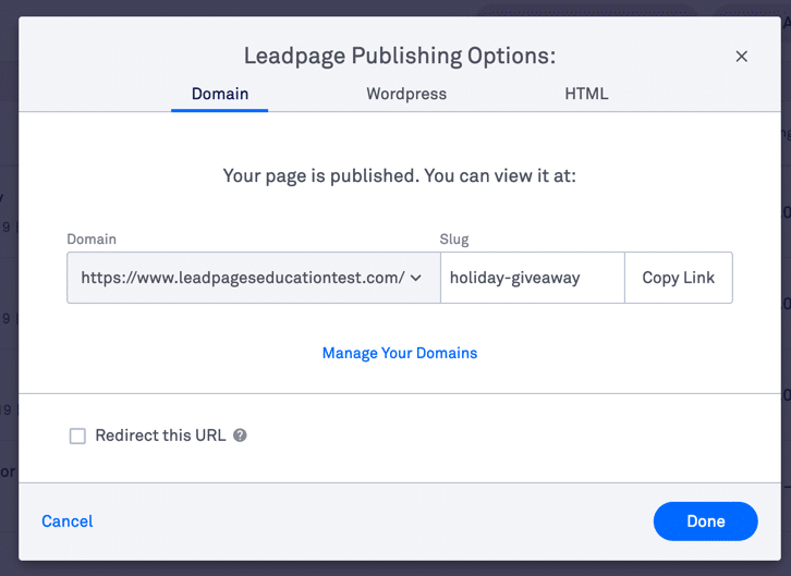 Publishing the landing page