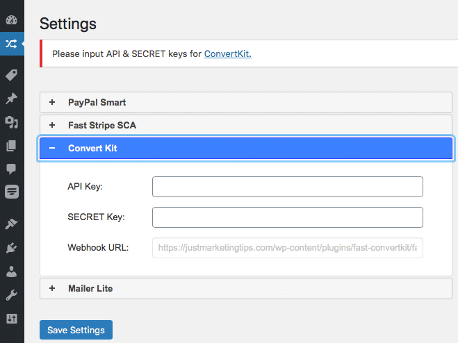 Save settings on the ConvertKit Plugin