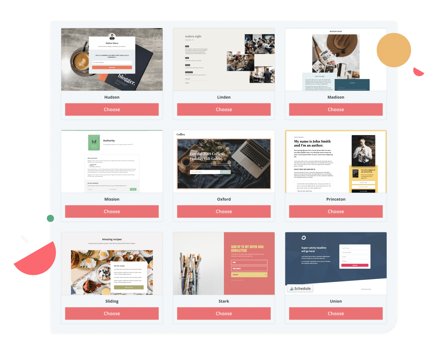 Templates for landing pages