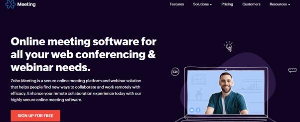 Zoho Meeting Home Page